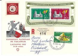 WIII 35, + 321,  émission Surtaxe, Cathédrale Lausanne, Obl. Lausanne 15.10.55, Vignette Exposition Nationale Philatélie - Blocks & Kleinbögen