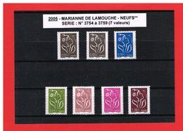 2005 - MARIANNE DE LAMOUCHE - N° 3754 à 3759 Avec 3754A - NEUFS** - COTE Y & T : 18.50 Euros - 2004-08 Marianne Of Lamouche