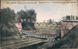 Postcard Bialystok Białystok Bahnbrücke Gel. Feldpost WK1 1916 - Pologne