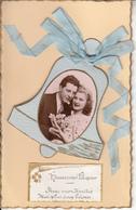 Fantaisie - Couple Amoureux - Pâques - Carte Ancienne Luxe - Pâques