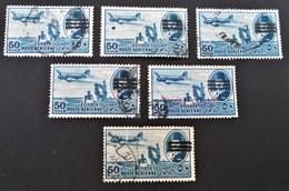 ROI FAROUK - SURCHARGE 3 BARRES 1953 - VARIETES DE SURCHARGES ET D'OBLITERATIONS - YT PA 66A - MI 456 - Poste Aérienne