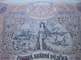 TCHECOSLOVAQUIE - PRAGUE 1922 - TITRE DE 1 500 KC. BELLE ILLUSTRATION - NOUVEAU Et PEU COURANT - Actions & Titres