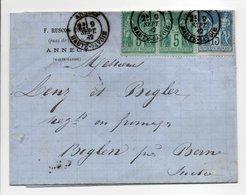 - Lettre RUSCON ONCLE, ANNECY Pour BIGLEN (Suisse) 9 SEPT 1882 - Bel Affranchissement Type Sage - - Marcophilie (Lettres)