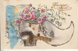 Fantaisie - Joyeux Noël - Carte Ancienne Luxe - Double Volets - Sonstige