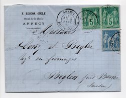 - Lettre RUSCON ONCLE, ANNECY Pour BIGLEN Via GENEVE (Suisse) 3 JANV 1883 - Bel Affranchissement Type Sage - - Postmark Collection (Covers)