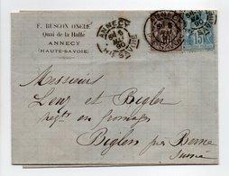 - Lettre RUSCON ONCLE, ANNECY Pour BIGLEN (Suisse) 5 MAI 1890 - Bel Affranchissement Type Sage - - Marcophilie (Lettres)