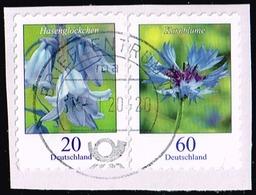 Bund 2018/19,Michel# 3432, 3481 O Blumen: Hasenglöckchen, Kornblume Selbstklebend - [7] République Fédérale