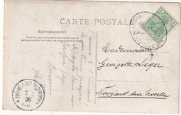 ALSACE-LORRAINE  1906 CARTE POSTALE CACHET FERROVIAIRE/ZUGSTEMPEL METZ-CHATEAU SALINS - Marcophilie (Lettres)