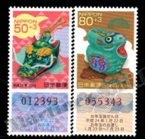 Japan - Japon 2011 Yvert 5633-34, Celebrations. New Year, Dragon Chinese Year/Lunar Year - Lottery Numbers - MNH - 1989-... Keizer Akihito (Heisei-tijdperk)