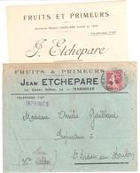 MARSEILLE Imprimé Entête Fruits Primeurs ETCHEPARRE 15c Semeuse Camée Brun Yv 189 Ob 1929 Avec Cours Du Jour - France