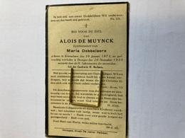 De Muynck Alois Echtg Dobbelaere Maria *1873 Knesselare +1935 Drongen Druk De Witter Desmet - Obituary Notices