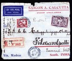 A6639) Indochina LP-R-Brief Saigon 09.09.33 N. Kilasavalpatti / Indien - Briefe U. Dokumente