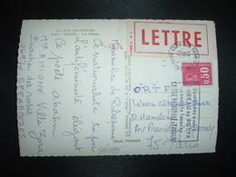 CP TP M. DE BEQUET 0,50 + VIGNETTE LETTRE OBL.MEC.31-7 1974 06 CANNES PPAL - 1971-76 Marianne (Béquet)