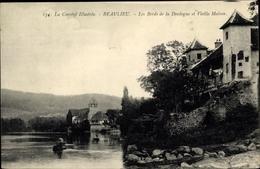 Cp Beaulieu Corrèze, Les Bords De La Dordogne Et Vieille Maison - Francia