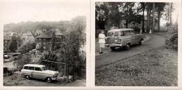 2 Photos Carrées Originales Opel Olympia Rekord Break (1957) De Dos & De Côté - Auto's