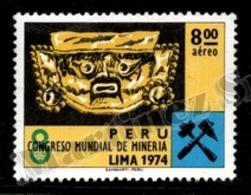 Peru - Perou 1974 Yvert AV 397, Art. Inca Mask. Industry. World Mining Congress, Logo - MNH - Pérou