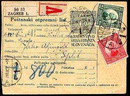 YUGOSLAVIA 1922 Parcel Card With Definitive Franking - Briefe U. Dokumente