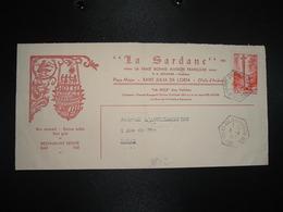 LETTRE TP CROIX GOTHIQUE 15F OBL. HEXAGONALE Tiretée 8-4 1957 ST JULIEN DE LORIA + HOTEL AUBERGE LA SARDANE - Lettres & Documents