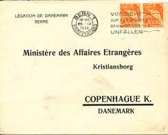 Switzerland Cover Sent To Ministry Of Foreign Affairs Denmark Bern 25-4-1938 - Brieven En Documenten