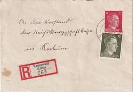 ALSACE-LORRAINE  1942 LETTRE RECOMMANDEE DE KREUZWALD AVEC CACHET ARRVIEE BOCHUM - Marcophilie (Lettres)