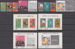 Mexico 12.10.1968 Mi # 1283-92 Bl 15-18 Mexico City Summer Olympics (V) MNH OG - Zomer 1968: Mexico-City