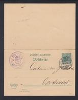 Dt. Reich GSK Mit Antwort 1892 Köln Nach Dortmund - Entiers Postaux