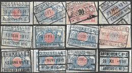 9Sp-875: 12 Zegels: 4de Uitgifte.betere Stempels Bruxelles.... Verder Uit Te Zoeken.. - Railway