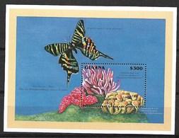 GUYANA 1996  BUTTERFLIES, AND CORALS  MNH - Schmetterlinge