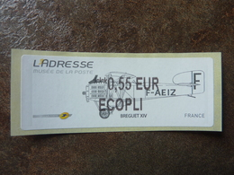 2010 LISA2  L'adresse Bréguet XIV  ECOPLI  0,55€ (vendue à La Faciale) ** MNH - 2010-... Illustrated Franking Labels