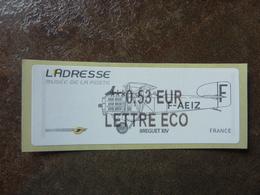 2010 LISA2  L'adresse Bréguet XIV  LETTRE ECO 0,53€ (vendue à La Faciale) ** MNH - 2010-... Illustrated Franking Labels