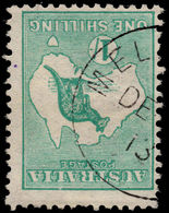 Australia 1913-14 1s Blue-green Inverted Watermark Fine Used. - 1913-36 George V : Other Issues