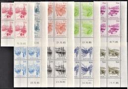 ** MONACO 1986 SERIE 9 BLOCS DE 4 TP / N°1510 A N° 1518 - NEUFS** / COINS DE FEUILLES / DATES - Monaco