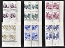 MONACO 1991 - SERIE 6 BLOCS DE 4 TP / N° 1762 A 1767 - NEUFS** / COINS DE FEUILLES / DATES - Monaco