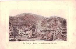 CPA : Le   Pouzin (07)  Vue Prise De La Carrière   Encore Des Vieilles Pierres !!   Ed  Broglio Patissier - Le Pouzin