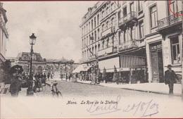 Mons Bergen La Rue De La Station CPA Animee Hainaut Henegouwen - Mons
