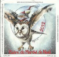 étiquette Décollée Bière Marché De Noël Verviers BD Y. Thiel Brasserie Val Dieu Aubel - Cerveza