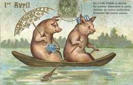 Illustrateur Deux Cochons En Barque Parapluie  Myosotis Chapeau 1er Avril  Gauffrée  RV - 1er Avril - Poisson D'avril