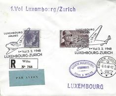 Luxembourg  -  Poste-Aérienne   -   3.11.1948 - 1. Vol Luxembourg - Zürich -  2 Scans - Poste Aérienne