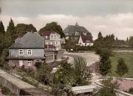 """Rüthen Möhne Handcolorierte AK 1950 """" Aufbaugymnasium Im Sauerländer Hof """" - Möhnetalsperre"""