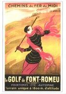 FR66 REPRODUCTION AFFICHES ANCIENNES - 10 * 15  - Chemin De Fer Du Midi - FONT ROMEU - Le Golf - Belle - Sin Clasificación
