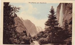 1015/ Hotel Staubbach, Lauterbrunnen, Park-Partie Mit Staubbach 1920 - BE Berne