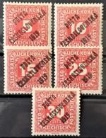 CZECHOSLOVAKIA 1919 - MLH - Sc# B47, B48, B49, B51, B52 - Ungebraucht