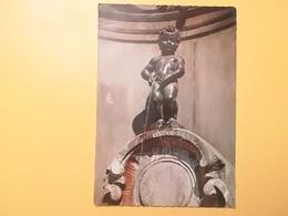 CARTOLINA POSTCARDS BELGIO BELGIQUE 1962 BRUXELLES BRUSSEL MONUMENT MANNEKEN PIS BOLLO LEONE LYON  OBLITERE' - Monumenti, Edifici