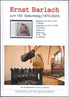 """Ernst Barlach Gedenkblatt Anlässlich 150. Geburtstag, Auktionshaus Flemming,mit Briefmarke Berlin 1988 """"Der Sammler"""" (1) - Cartoline Maximum"""