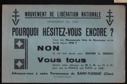 Cher,18, Mouvement De Liberation Nationale, Permanence De Saint Florent - Documents