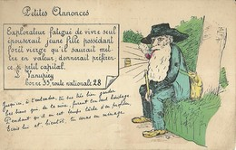 "6699 "" PETITES ANNONCES:EXPLORATEUR FATIGUE' DE VIVRE SEUL.......... "" -CART. POST ORIG. NON SPEDITA - Men"