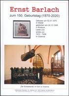 """Ernst Barlach Gedenkblatt Anlässlich 150. Geburtstag, Auktionshaus Flemming,mit Briefmarke Berlin 1988 """"Der Sammler"""" (2) - Cartoline Maximum"""