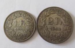 Suisse - 2 Monnaies 1 Franc 1911 Et 2 Francs 1944 En Argent - Switzerland