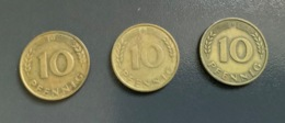 """GERMANIA - DEUTSCHLAND  - 1949 -  3 Monete 10  PFENNIG """" D """"  , """" F """" , """" G"""" - [ 6] 1949-1990 : RDA - Rep. Dem. Alemana"""