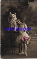 130870 REAL PHOTO COSTUMES GIRL WITH BASKET FLOWER & DOG BREAK POSTAL POSTCARD - Photographs